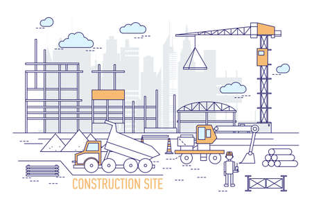 Construction site or area with constructed building, crane, excavator, dump truck, engineer wearing hard hat against silhouettes of skyscrapers on background. Vector illustration in line art style. 일러스트