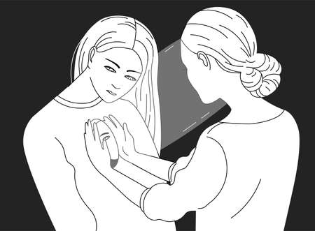 Female character looking inside another woman. Concept of psychotherapy, psychoanalysis, psychotherapeutic work, psychological aid, mental health care. Vector illustration in black and white colors. Vettoriali