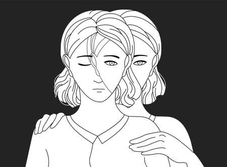 Woman standing behind her sad copy and putting hands on her shoulders. Concept of self aid, support, care and help, inner adult or parent, introspection. Vector illustration in black and white colors.