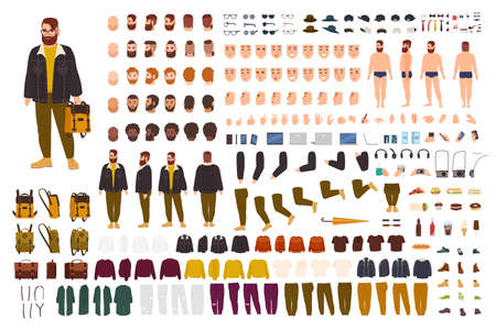 Fat man creation set or DIY kit. Collection of flat cartoon character body parts, face expressions, trendy hipster clothes isolated on white background. Front, side, back view. Vector illustration.