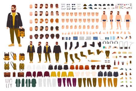 Zestaw do tworzenia fat mana lub zestaw DIY. Kolekcja płaskich postaci z kreskówek części ciała, wyrazy twarzy, modne ubrania hipster na białym tle. Widok z przodu, z boku, z tyłu. Ilustracji wektorowych. Ilustracje wektorowe
