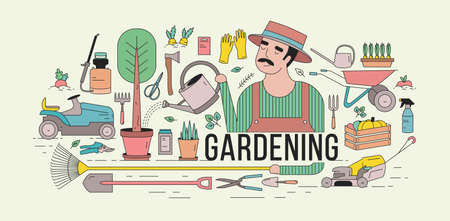 Horizontal banner with gardener in hat watering potted tree surrounded by gardening and agriculture equipment, tools, garden plants and vegetables. Colorful vector illustration in line art style. Illustration