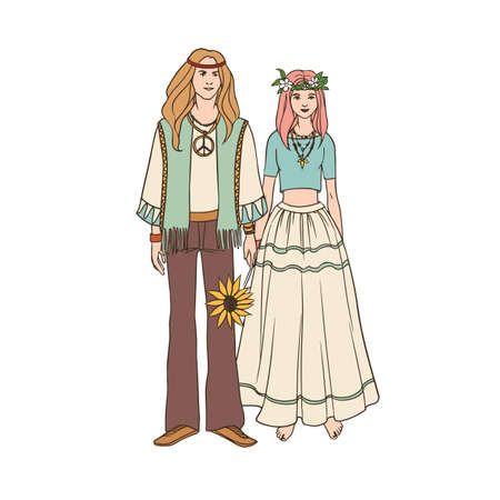 Young hippie man and woman with long hair dressed in loose ethnic clothing standing together and holding hands. Male and female cartoon characters isolated on white background. Vector illustration. Stock Photo