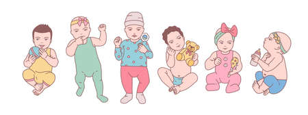 Bundle of cute newborn babies or small children dressed in various clothes and holding toys and rattles. Set of toddlers in different poses drawn in line art style. Colorful vector illustration.