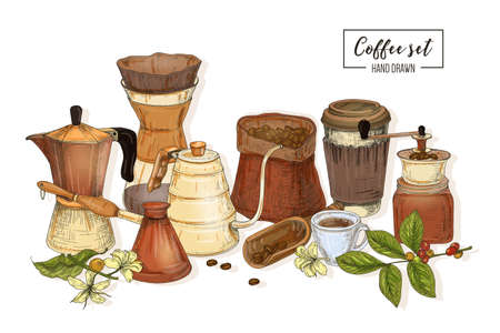 Bundle of tools for coffee brewing - moka pot, turkish cezve, kettle with long spout, glass pour over dripper, manual grinder. Colorful vector illustration hand drawn in elegant antique style.