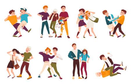 Colección de niños luchando. Conflictos entre niños, comportamiento violento entre adolescentes, violencia en la escuela. Personajes de dibujos animados planos aislados sobre fondo blanco. Ilustración de vector colorido.