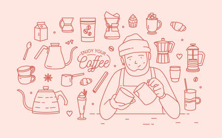 Cute smiling male cartoon character wearing hat and apron surrounded by desserts, spices and tools for coffee brewing drawn with contour lines in pink color. Vector illustration in lineart style.