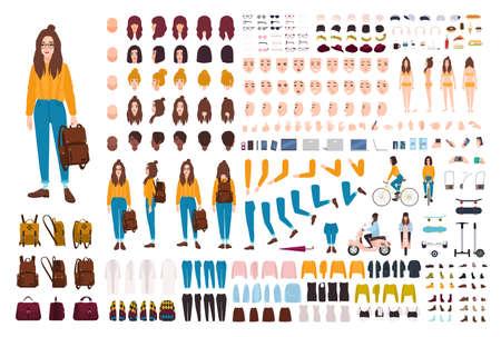 Hipster Mädchen Schöpfung Kit. Satz flache weibliche Zeichentrickfilm-Figur-Körperteile, Gesichtsgesten, Frisuren, modische Kleidung, stilvolles Zubehör lokalisiert auf weißem Hintergrund. Vektor-Illustration.