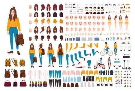 Hipster girl creation kit. Set of flat female cartoon character body parts, facial gestures, hairstyles, trendy clothing, stylish accessories isolated on white background. Vector illustration.