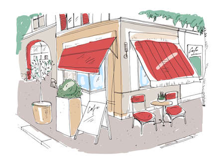 Colored freehand sketch of small sidewalk cafe decorated with potted plant and chairs standing on city street under awning beside building.