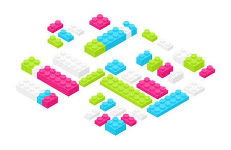 Set of isometric colorful plastic construction details, parts or pieces isolated on white background.