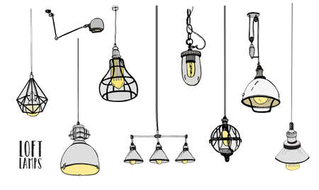 Collection of  hand drawn modern isolated loft lamps, vintage, retro style light bulbs. Çizim