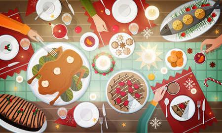 크리스마스 축제 저녁 식사, 상위 뷰 그림입니다.