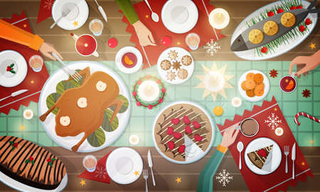 Christmas festive dinner, top view illustration.