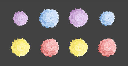 Collection of colored pom poms. Colorful decorative elements isolated on black background. Vector illustration. Stock Photo