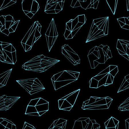 Seamless pattern with gemstones, valuable crystals or precious stones hand drawn with blue contour lines on black background. Vector illustration for wallpaper, backdrop, fabric print, wrapping paper. Stock Photo
