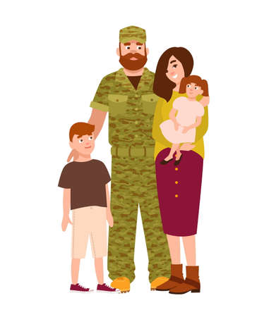 Military man, serviceman or soldier dressed in camouflage clothing with family illustration.