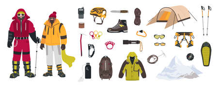 Bundle of mountaineering and touristic equipment isolated on white background. Illustration