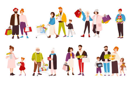 Collection of happy people carrying shopping bags.
