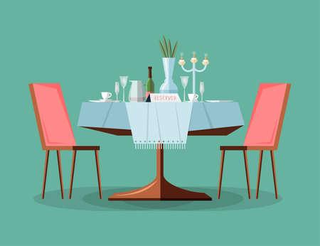 Reserved modern restaurant table setting.