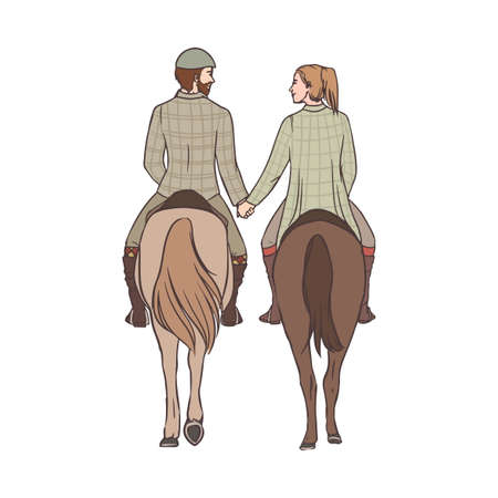 Man and woman riding horses together, holding hands and looking to each other.