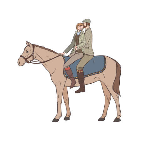 Young man and woman dressed in retro tweed suits riding one horse
