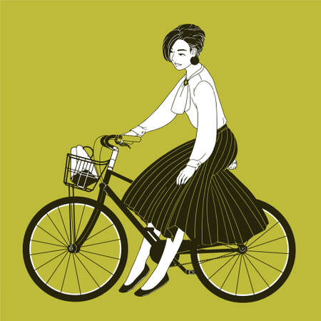 Young woman dressed in elegant clothes riding city bike drawn with contour lines on yellow background. Fashionable lady wearing blouse and pleated skirt sitting on bicycle. Vector illustration. Stock Photo