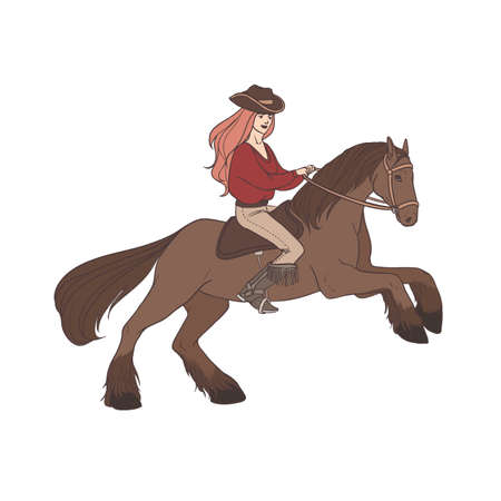 Long-haired woman wearing cowboy hat and boots riding wild mustang horse. Cowgirl, horseback rider, equestrienne. Hand drawn cartoon character isolated on white background. Vector illustration. Stock Photo