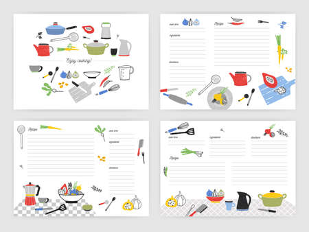 Collection of card templates for making notes about preparation of food. Blank recipe book or cookbook pages decorated with colorful kitchen utensils and cooking ingredients. Vector illustration.