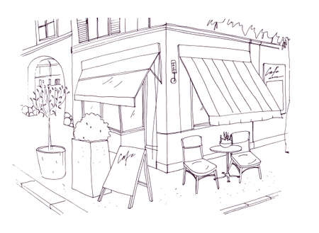 Freehand drawing of european sidewalk cafe or restaurant with table and chairs standing on city street beside building. Vector illustration drawn with black contour lines on white background.  イラスト・ベクター素材