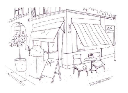 Tekening uit de vrije hand van Europees stoepcafé of restaurant met tafel en stoelen die zich op stadsstraat bevinden naast de bouw. Vector illustratie getekend met zwarte contourlijnen op witte achtergrond.
