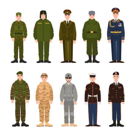 Coleção de militares russos e americanos ou pessoal vestido de vário uniforme. Pacote de soldados da Rússia e EUA. Conjunto de personagens de desenhos animados plana. Ilustração em vetor colorido moderno.