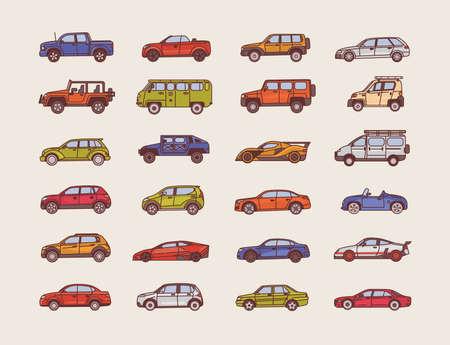 Grande coleção de carros de vários estilos de configuração do corpo - cabriolet, sedan, pickup, hatchback. Conjunto de automóveis modernos de diferentes tipos. Ilustração vetorial colorida em estilo de linha de arte. Ilustración de vector