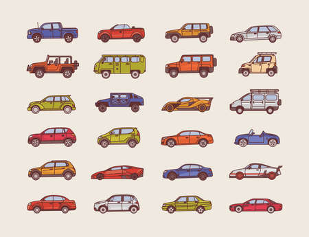 Big collection of cars of various body configuration styles - cabriolet, sedan, pickup, hatchback. Set of modern automobiles of different types. Colorful vector illustration in line art style.