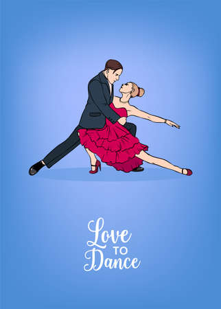 Vertical poster template with male and female dancers dressed in formal clothing and performing tango element. Beautiful man and woman demonstrating romantic dance. Colorful vector illustration. Stock Photo