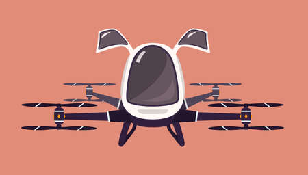 Taxi drone or passenger quadcopter. Flying futuristic rotor vehicle. Modern unmanned electric aircraft or automated quadrotor isolated on pink background. Cartoon colorful vector illustration