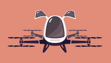 ドローンや乗客の quadcopter をタクシーします。未来ローター車を飛んでいます。現代の無人電動航空機または自動 quadrotor のピンクの背景に分離します。漫画のカラフルなベクトル図