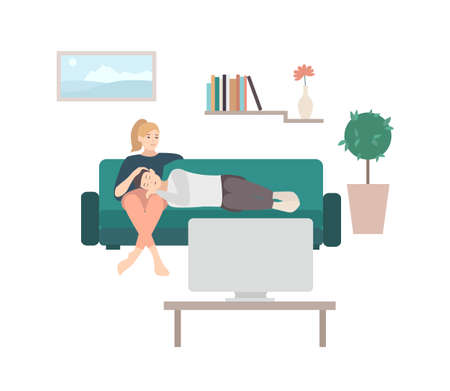 Man sleeping on lap of woman sitting on cozy sofa and watching TV or television set. Cute young couple relaxing at home. Pair of male and female cartoon characters on couch. Vector illustration. Illustration