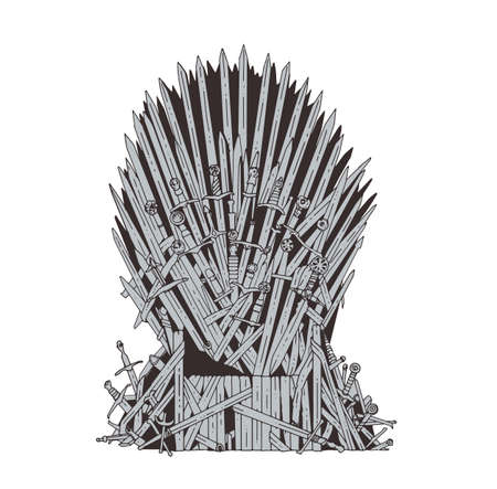 Hand drawn iron throne of Westeros made of antique swords or metal blades. Ceremonial chair built of weapon isolated on white background. Beautiful fantasy design element. Vector illustration.