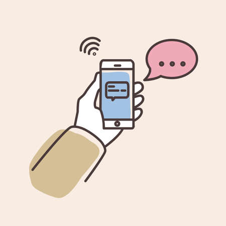 Hand holding smartphone with text message on screen and speech bubble. Phone with chat or messenger notification. Instant messaging service, chatting. Colorful vector illustration in line art style.