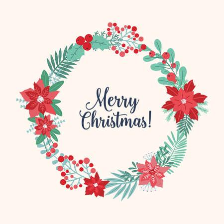 Saluto di Natale all'interno della ghirlanda festiva o ghirlande circolari fatte di fiori, rami, bacche e foglie stagionali intrecciati. Decorazione naturale festiva tradizionale. Illustrazione vettoriale colorato