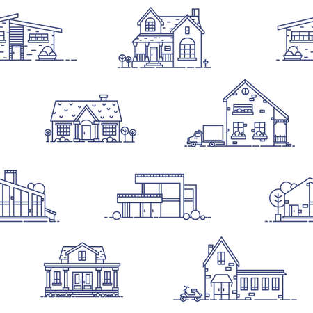 Seamless pattern with suburban houses drawn with blue contour lines on white background. Monochrome backdrop with various living or residential buildings. Vector illustration in lineart style. Illustration