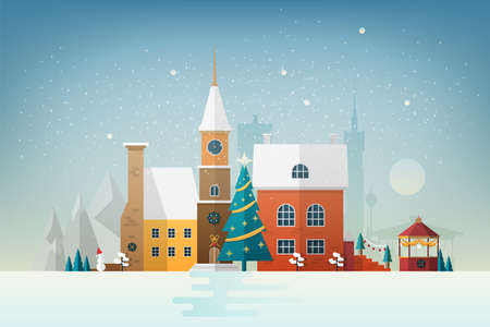 Small European town in snowfall. Snowy cityscape with facades of elegant antique buildings decorated for New Year or Christmas celebration. Colorful holiday vector illustration in flat style.