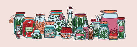 Horizontal banner with fruits, pickled vegetables and spices in jars and bottles hand drawn on white background. Collection of homemade preserves in glass containers. Colorful vector illustration.