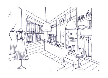 Outline drawing of fashionable clothing shop interior with furnishings, showcases, mannequins dressed in stylish apparel. Boutique or fashion store hand drawn with contour lines. Vector illustration