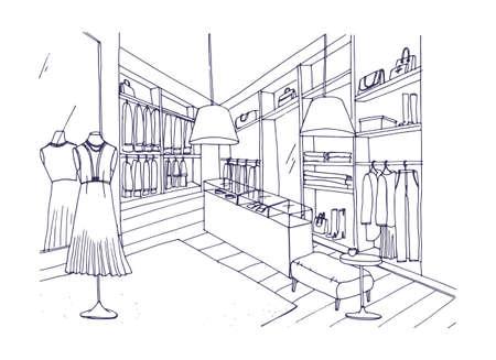 Desenho de esboço do interior da loja de roupas da moda com mobiliário, vitrines, manequins vestidos com roupas elegantes. Loja de boutique ou moda mão desenhada com linhas de contorno. Ilustração vetorial