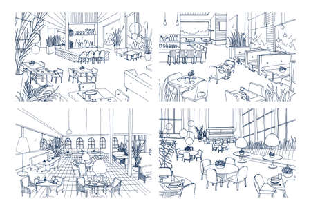 Collection of monochrome drawings of cafe interiors with modern furnishings. Bundle of hand drawn sketches of restaurants furnished in loft style. Vector illustration in black and white colors Ilustração