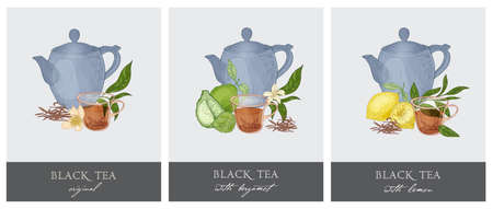 Bundle of elegant labels with teapot.