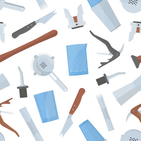 Seamless pattern with bartenders tools on white background.