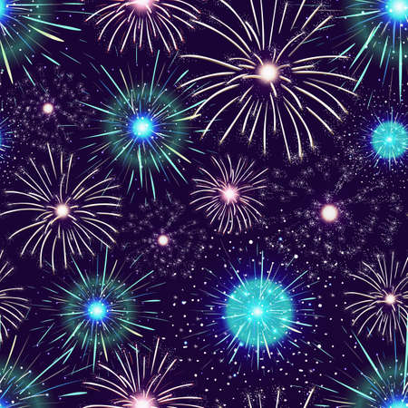 Seamless pattern with spectacular colorful fireworks displayed in dark night sky. Backdrop with bright flashing festive lights. Vector illustration for wallpaper, textile print, wrapping paper. Illustration